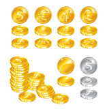 Gold coins on white background Royalty Free Stock Photos