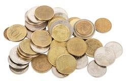 Gold coins on white Royalty Free Stock Photos