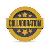 Gold collaboration seal stamp illustration Stock Photo