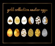 Gold collection easter eggs. Metallic set gold and silver texture on black. Background royalty free illustration