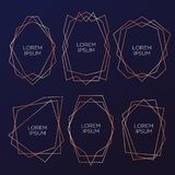 Gold collection of geometrical polyhedron, art deco style for wedding invitation and birthday party, luxury elegant templates, dec vector illustration