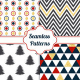 Gold collection of seamless patterns with blue, red, white colors. Set of seamless backgrounds with traditional symbols Royalty Free Stock Photos
