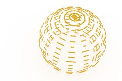Gold color 3D rendering. Abstract CGI typography, made up from w. Gold color 3D rendering. Sphere or planet, made up from words or alphabetic character, CGI royalty free illustration