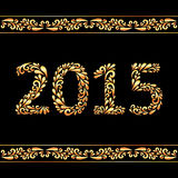 2015 in gold color. Stock Image