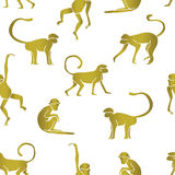 Gold color of monkey. Seamless pattern background. Symbol of 2016 year. Vector illustration vector illustration