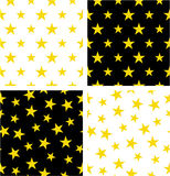 Gold Color Nautical Star Big & Small Aligned & Random Seamless Pattern Set Royalty Free Stock Photo