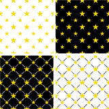 Gold Color Nautical Star Big & Small Seamless Pattern Set Stock Photo