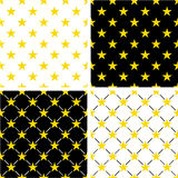 Gold Color Nautical Star Seamless Pattern Set Stock Photo
