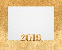 Gold color new year 2019 3d rendering with blank white greetin stock image