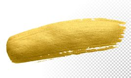 Gold color paint brush banner. Acrylic golden smear stroke stain on white background. Shine abstract detailed gold glittering text. Gold color paint brush banner Stock Image