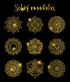 Gold color round abstract ethnic ornament mandalas. Round ornament decoration. Colorful flower patterns. Tattoo print Stock Photography