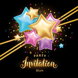 Gold color star balloon Bouquet invitation Royalty Free Stock Photo