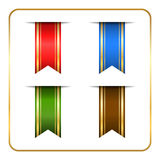 Gold colored bookmark banners set Royalty Free Stock Photo