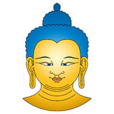 Gold colored Buddha head with blue hairs Stock Image
