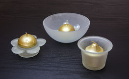 Gold Colored Candles Royalty Free Stock Photos