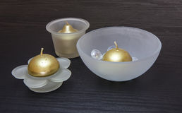Gold Colored Candles Royalty Free Stock Photo