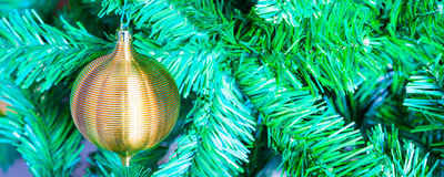 Gold colored decoration ball on Christmas tree background Stock Image