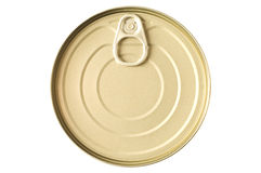 Gold colored food tin can Stock Photography