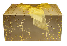 Gold colored Gift Box with Bow Royalty Free Stock Photography
