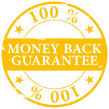 Gold colored 100% Money Back Guarantee grunge rubber stamp icon. Isolated on white background stock illustration