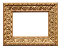 Gold colored picture frame. Isolated on white stock image