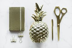 Gold-colored Pineapple, Scissors, Clamp Decors Stock Photography