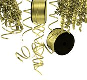 Gold colored ribbons and streamers Stock Photography