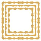 Gold colored symmetrical, square shaped frame designs Royalty Free Stock Photo