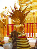 Gold colour Buddha statue in Buddhist temple stock photo