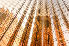 Gold colour office building tower facade  in business center Stock Photography