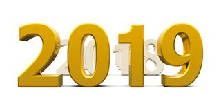 Gold 2019 come #2. Gold 2019 come represents the new year 2019, three-dimensional rendering, 3D illustration Royalty Free Stock Photography