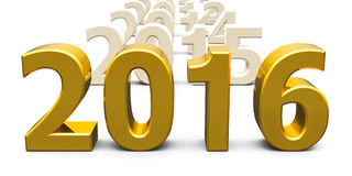Gold 2016 come. Represents the new year 2016, three-dimensional rendering Stock Photos
