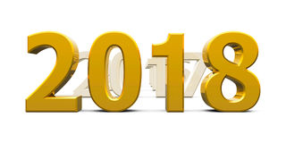 Gold 2018 come 2. Gold 2018 come represents the new year 2018, three-dimensional rendering, 3D illustration Royalty Free Illustration