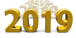 Gold 2019 come. Represents the new year 2019, three-dimensional rendering, 3D illustration Stock Photography