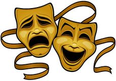 Gold Comedy And Tragedy Theater Masks. Vector illustration of gold comedy and tragedy theater masks with a gold ribbon royalty free illustration