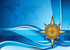 Gold compass. On blue background with world map, eps10 illustration royalty free illustration