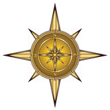 Gold compass. Isolated on white,  illustration Royalty Free Stock Photography
