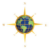Gold Compass globe illustration Stock Photo