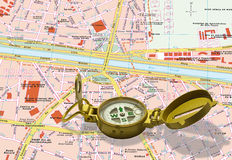 Gold compass isolated over a map Stock Image