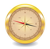 Gold compass isolated on white Royalty Free Stock Images
