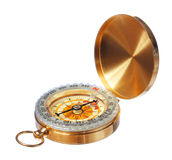 Gold compass isolated royalty free stock image
