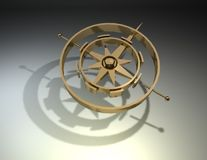 Gold compass render Royalty Free Stock Photography