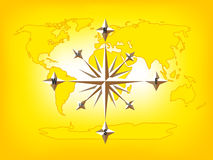 Gold Compass Rose World Map Stock Image