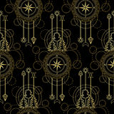 Gold Compass Seamless Pattern Royalty Free Stock Photos