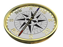 Gold compass on white. Background - path included Royalty Free Stock Photography