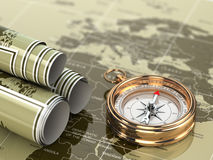 Gold compass  on world map background. 3d Royalty Free Stock Photos