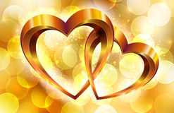 Gold composition with hearts Royalty Free Stock Image
