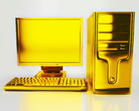 Gold computer Royalty Free Stock Photos