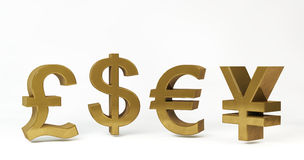 Gold concept of Financial symbols Stock Image