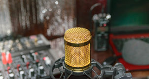 Gold condencer microphone Royalty Free Stock Photos